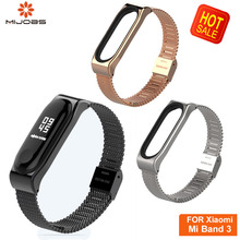 Mijobs Metal Mi Band 3 Strap Bracelet Screwless Stainless Steel Wristbands Smart watch band Strap Replacement Of Mi Band 3 mijobs mi band 2 strap metal bracelet screwless stainless steel bracelet wristbands replace accessories for xiaomi mi band 2