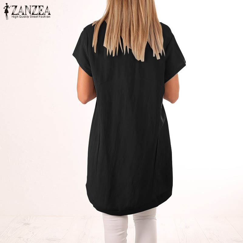 a1c9ab60b0424 2018 ZANZEA Summer Women Short Sleeve Blouse Casual Asymmetric Hem Black Tops  Blusa Feminina Baggy Cotton Linen Shirt Plus Size-in Blouses   Shirts from  ...