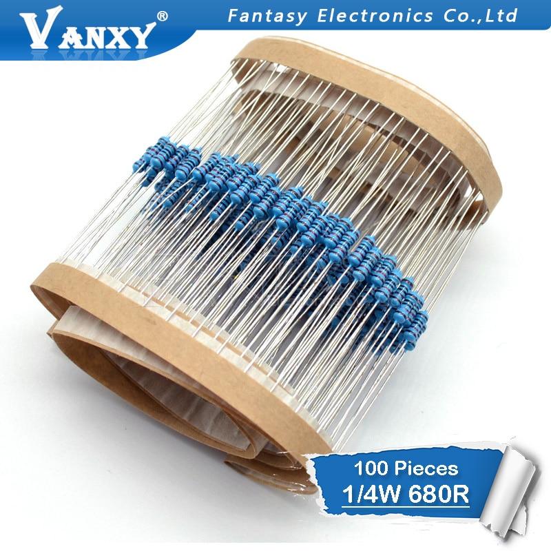 100pcs 680 Ohm 1/4W 680R Metal Film Resistor 1%