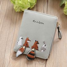 KANDRA New Women Cute Squirrel Embroidery Short Wallet PU Leather Bifold Small Purse Zipper Card Holder Bag Female Carteira vintage tank 1990 game wallet men women short leather wallet bifold bag cute sonic the hedgehog street fighter purse card holder