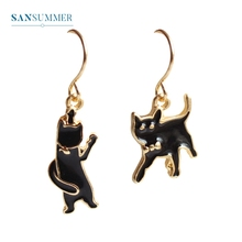 2017 New hot 1PC Fashion jewelry form Sansummer Black Cat Different Dissymmetry Popular Simple Cute/Lovely Drop Earrings цена и фото