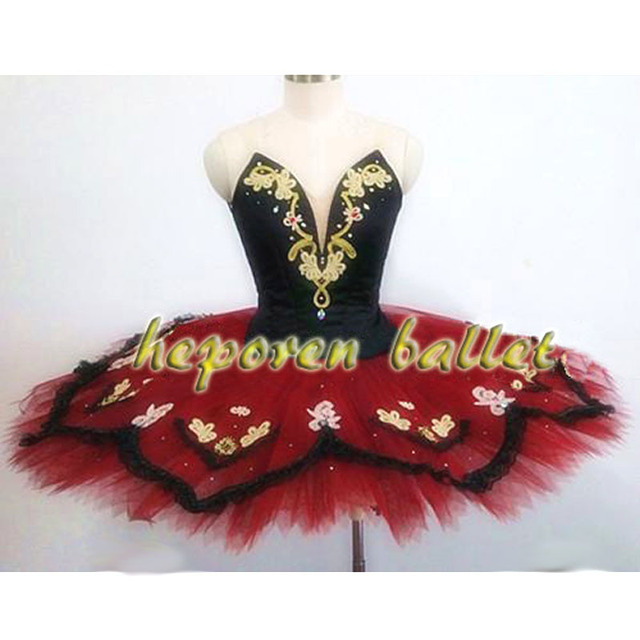 High Quality Professional Customized Esmeralda Deep V Dark Red Black Ballet Dresses,Adults Children Flower Tutu Skirt Swan Lake
