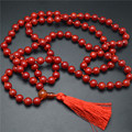 Buddhist Mala Prayer Woman Necklace 8MM108 Red Coral Round Beads Calabash Tassel Charm For Party Gift Free Shipping 5PC/Lot