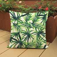Hot Sale Africa Tropical Plant Printed Cushion Green Leaves Beige LinenThrow Pillow Chair Car Sofa Cushions