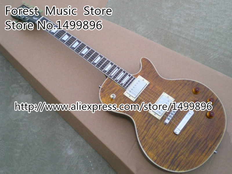 Wholesale & Retail Brown Tiger Flame Binding Guitar Body LP Standard Electric Chinese Guitars Lefty Custom Available hot selling matte tiger flame finish lp standard electric guitars with solid mahogany guitar body in stock