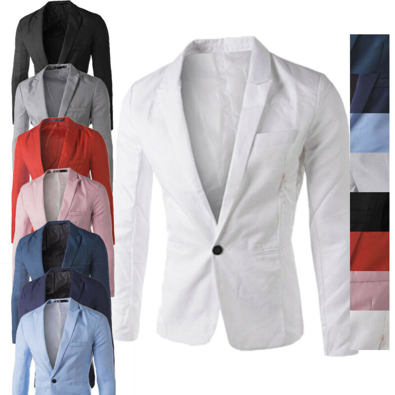 Fashion Men's One Button Blazer Coat Men's Casual Suit Blazer Jackets Lightweight Sports Coats One Button