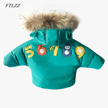 Kids Clothes Winter Boy Girls Real Hair Collar Hooded Parkas Children's Warm Thicken Cotton Padded Jackets Boys Down Cotton Coat