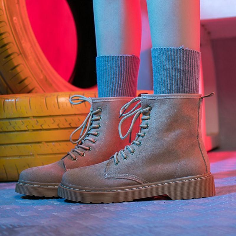 Appartements 35 Bottes Rond D'hiver De Dames noir Coolcept Mode À Cheville Chaussures rose 40 Femmes Khaki Taille Lacets Courtes Bout 5EqRRxZ