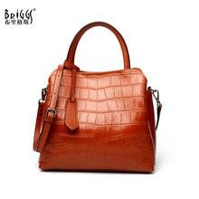BRIGGS Alligator Genuine Leather Bag Female Famous Brands Luxury Women Casual Tote Designer Shoulder Messenger Bags For Lady