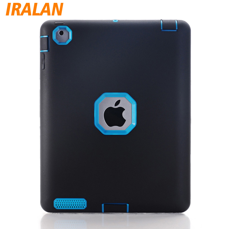 все цены на Newest Fashion 3in1 Hybrid Plastic Silicone Anti Shock Dual Color Tough Armor Back Cover Case For Apple ipad 2/3/4 Tablet онлайн