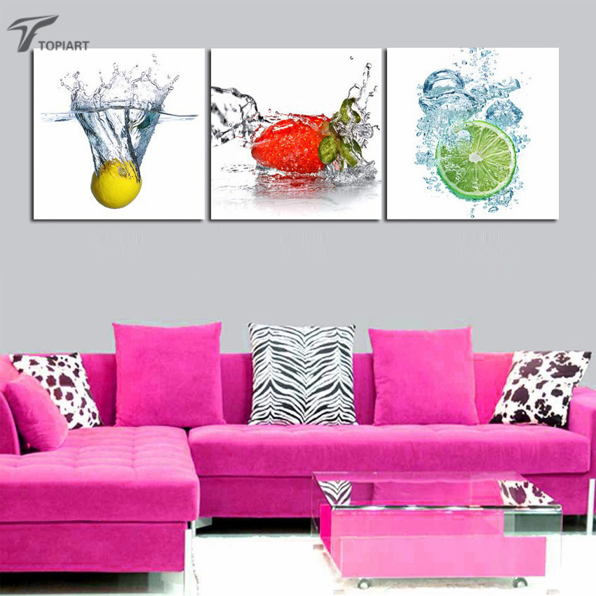 Modern Decor Wall Art Pictures Canvas Prints Fresh Fruit In Water ...