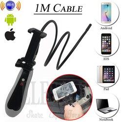 Ręczny bezprzewodowy Wifi iphone'a z systemem Android endoskop kamera z wodoodporny 1m twardy kabel wąż rura rury boroskop sprawdzić kamery w Kamery nadzoru od Bezpieczeństwo i ochrona na
