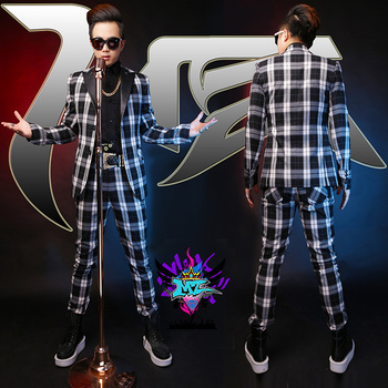 S-5xl ! New 2020 Men Slim Fashion Wool Grid Leather Collar Suit Singer Costumes Clothing Formal Dress Plus Size Coat