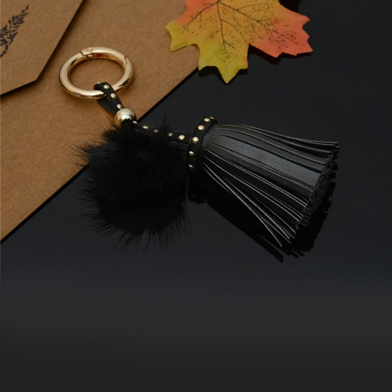 Felyskep New Korean Style PU Leather Tassels Keychains With Mink Fur Ball For Women Bag Or Car Pendant Keyrings Jewelry 234WA