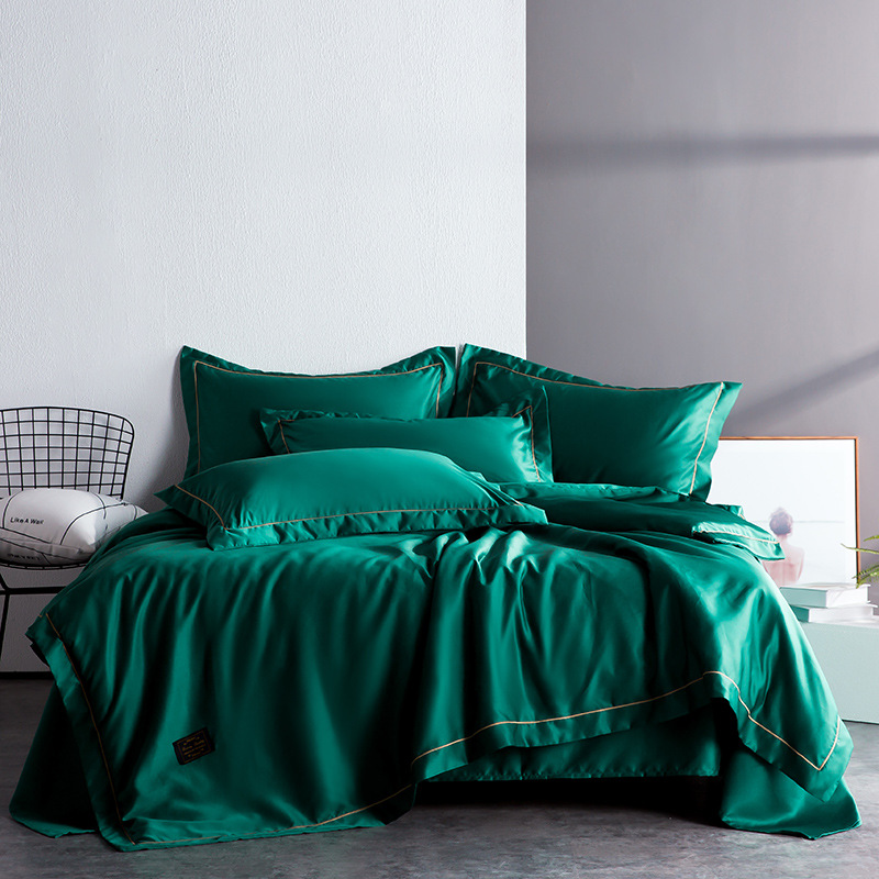 Simple deluxe Bedding Double-sided wash silk four pieces set pure color Queen quilt Bed fitted sheet Bing Silk soft home TextileSimple deluxe Bedding Double-sided wash silk four pieces set pure color Queen quilt Bed fitted sheet Bing Silk soft home Textile