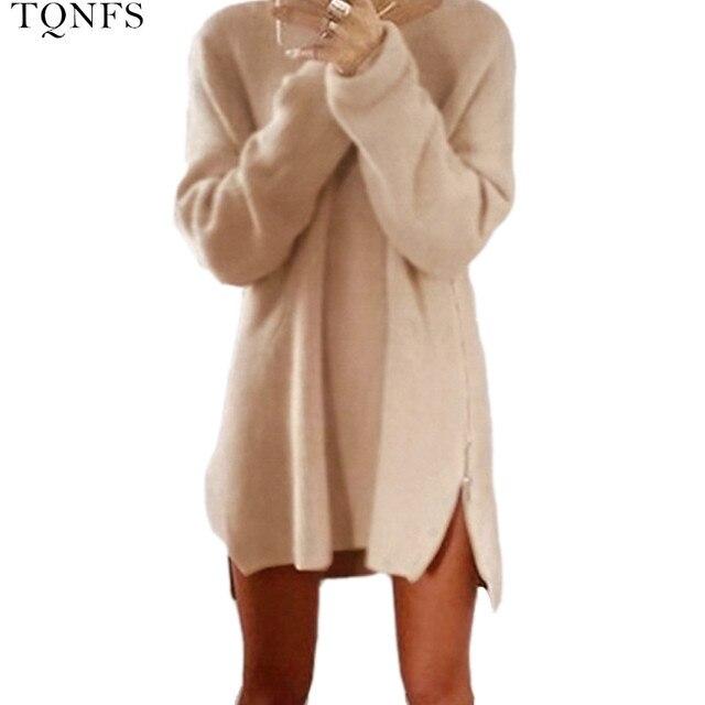 TQNFS 2016 Fashion Casual Women Sweater Dress O Neck Warm Women Sweater and Pullovers Zipper Short Sweater Women Dress