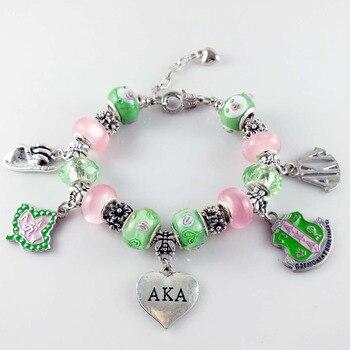 AKA Pink Green gold Charms Bracelet Alpha Kap Alpha Sorority gold Jewelry bracelet free shipping 1