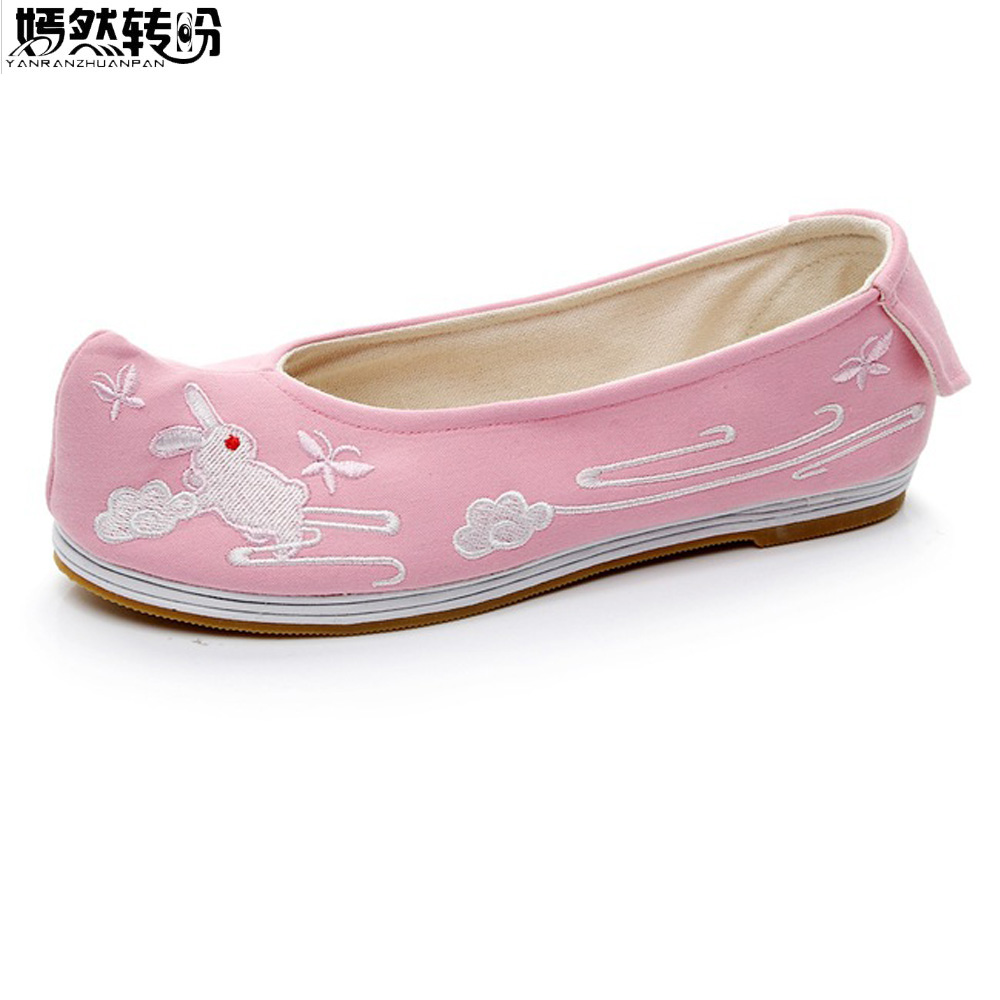 2018 New Women Flats Chinese Han Dynasty Rabbit Embroidered Slip on Breathable Dance Single Ballet Shoes Woman Sapato Feminino vintage women flats chinese fashion beads embroidered casual canvas shoes slip on shoes for woman white shoes