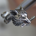 men jewelry cool wolf sword 316L stainless steel men/boy's stud earring punk