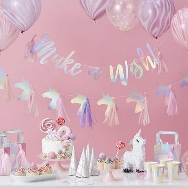 Bright Unicorn Tassel Banners Unicorn Birthday Party Decorations