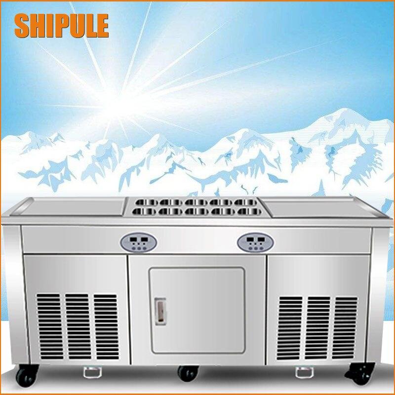Double pan fry ice cream machine Chine friture pan de glace machine thaïlande glacée frite crème rouleau machine