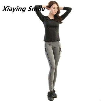 Xiaying Gülümseme Kadınlar Yoga Seti Gym Fitness Giyim Tenis Gömlek + Pantolon Koşu Tayt Koşu Egzersiz Yoga Tayt Spor Takım Elbise fiş