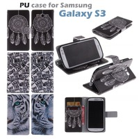 Fashion PU Leather Painted Wallet Flip Cover Case For Samsung Galaxy S3 I9300 Phone Bag With