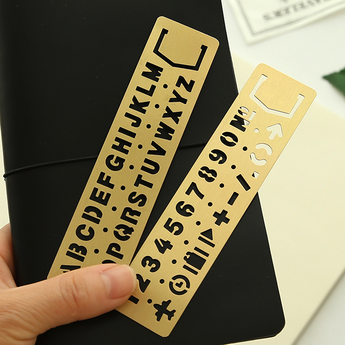 Vintage 100% Copper Brass Engraving Ruler With Gorgeous English Letter Number Punctuation Match For Planner Filofax Notebook