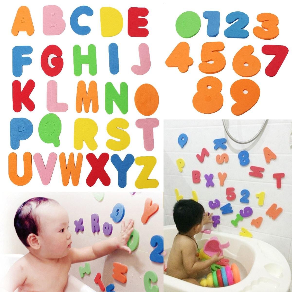 36PCs Alphanumeric Letter Bath Puzzle EVA Kids Baby Toys New Early Educational Kids Bath Funny Toy