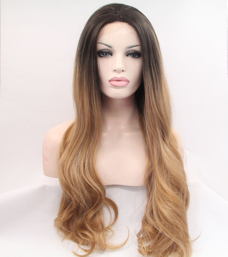Sylvia Ombre Brown Synthetic lace Front Wigs Long Body Wave Hair Heat Resistant Fiber Wig For