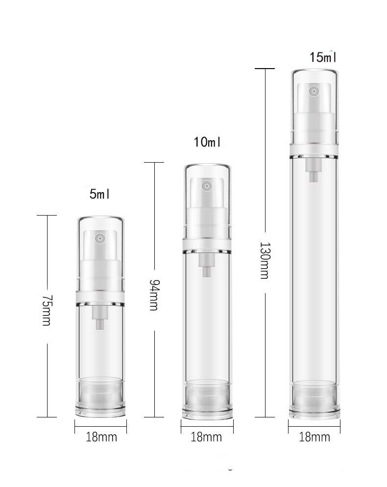 1x5 мл 10 мл 15 мл Прозрачный безвоздушный вакуумный насос бутылки Пластик дорожная бутылка 1/3oz 1/2OZ безвоздушного насоса с дозатором для контейнера