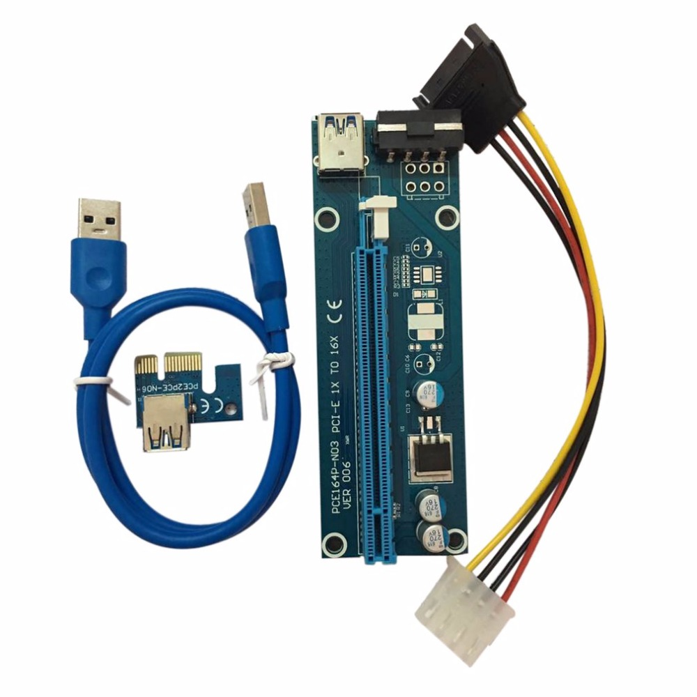 PCI-E PCI Express Riser Card 1x to 16x USB 3.0 Data Cable SATA to 4Pin IDE Molex Power Cord Supply for BTC Miner Machine