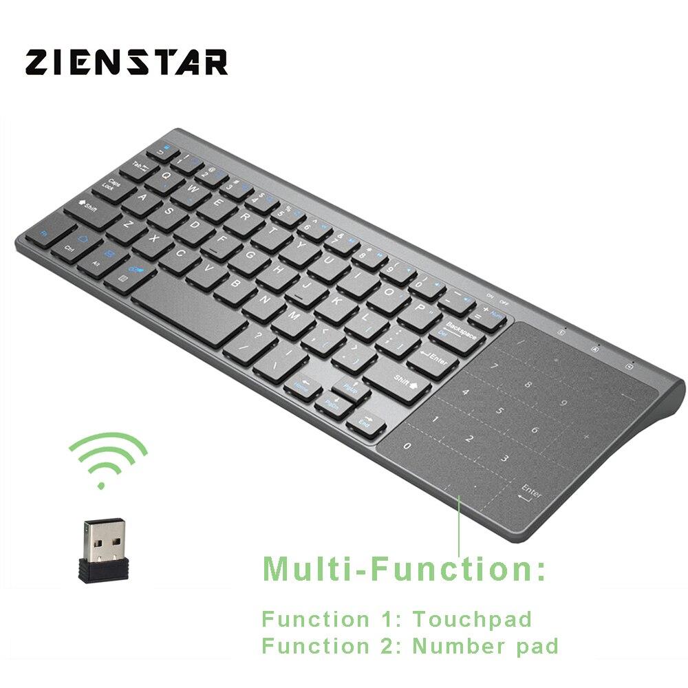 Mini teclado inalámbrico Zienstar 2,4g con Touchpad y Numpad para Windows PC, ordenador portátil, Ios pad, Smart TV, HTPC IPTV, Android Box
