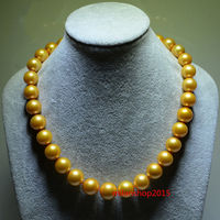 AAAAA 189 10mm REAL NATURAL round south sea GOLDEN pearl necklace > jewerly free shipping
