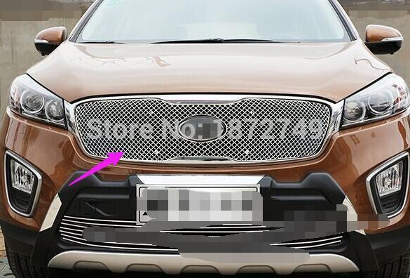 For Kia Sorento 2015 2016  1pcs Stainless Metal Front Center Grille Grill Cover Trim