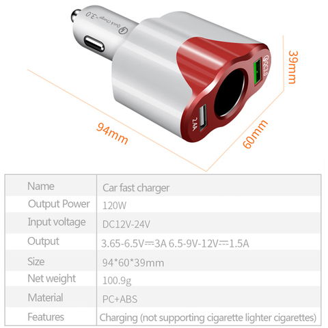 QC3.0 Car Charger Cigarette Lighter Socket 12-24V 2 USB Port Dual USB Mobile Phone Adapter Fast Charge Auto Electric Accessories Lahore