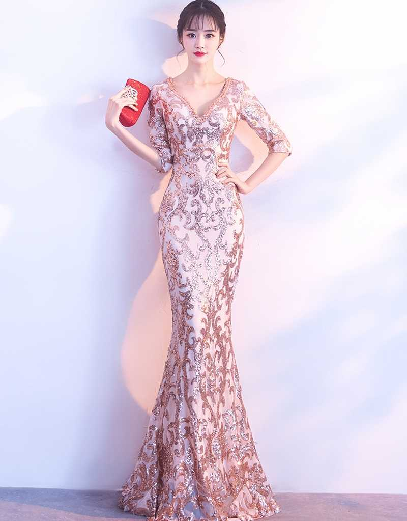 46d8ce20dba robe de soriee 2019 New V-neck See-through Back Sequins Party Formal Dress