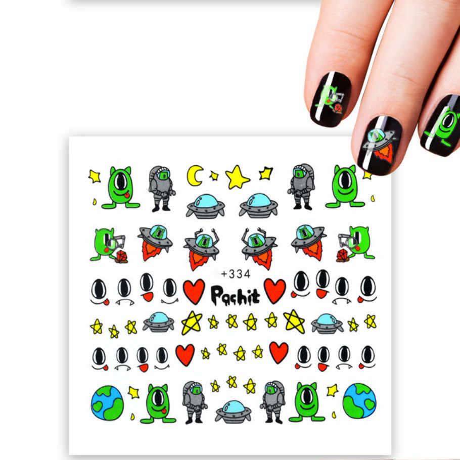 1pcs สติกเกอร์เล็บการ์ตูน Aliens รูปลอกน้ำ Sliders สำหรับตกแต่งเล็บ Tattoo Manicure Wraps เครื่องมือเคล็ดลับ JSX334