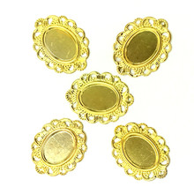 10Pcs Bag Decoration Ornament Filigree Wraps Gold Plated Flower Pattern Oval Hollow Connectors 32x24mm Fit 13x18mm
