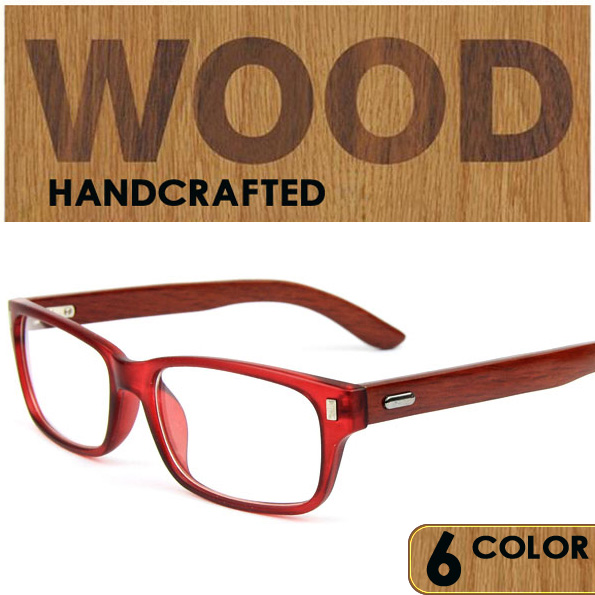 Retro Style Wooden Glasses Frame 6 colors Clear Lens real Wooden ...