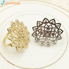 Joyathome Silver Luxury Flower-Shaped Napkin Rings Western Style Christmas Holders for Weddings Free Gift