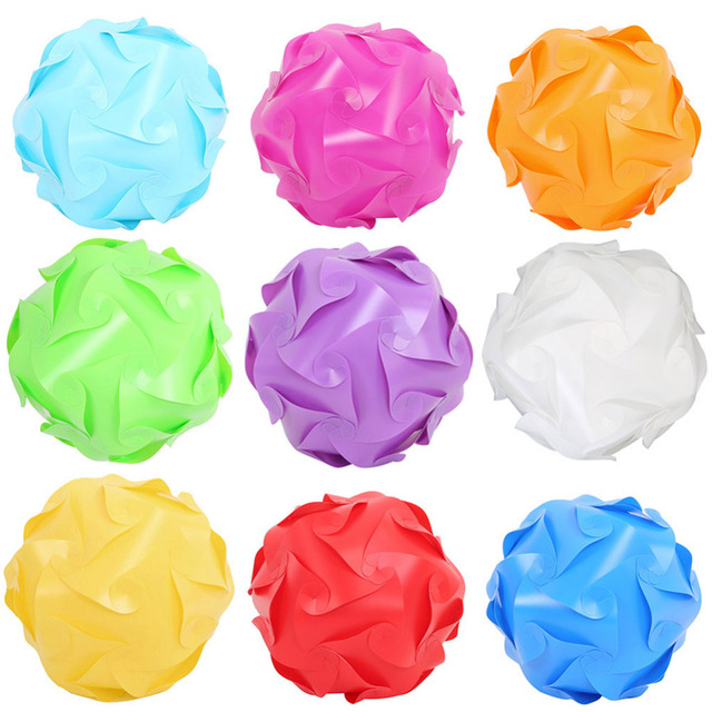 8colors Pp Diy Modern Festival Ball Novel Iq Lamp Shade Jigsaw Puzzle Lights Led Ceiling Lampshade For Bar Wedding Party 3size
