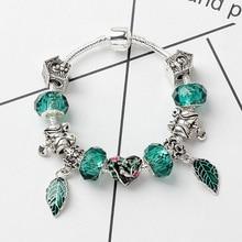 Bird Green Leaf Luxury DIY Beads Crystal Bracelet & Bangle Brand Women Bracelet Unique Charm Bracelet For Women Jewelry Gift цена