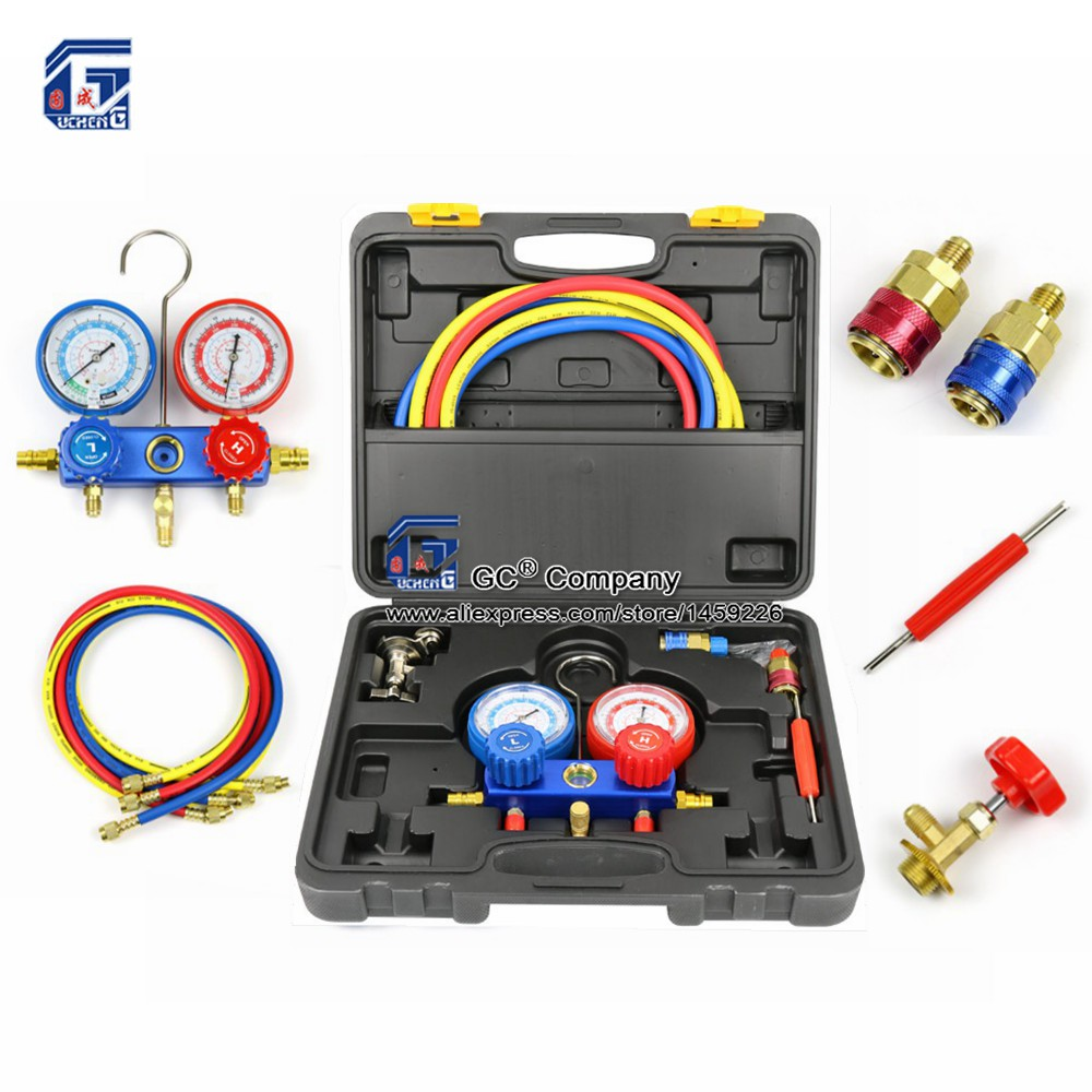 лучшая цена Manifold Gauge Set Diagnostic Tool R12,R22, R404a, R134a for Auto Air Conditioner Refrigerant