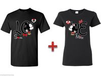 Couple Matching T SHIRT Mickey Minnie Kissing LOVE Tees Couple Crewneck Cute TEE 100 Cotton T