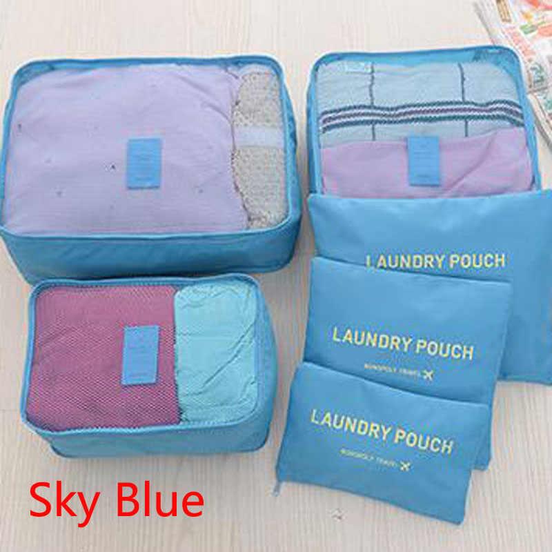 Нейлоновый куб для упаковки, дорожная сумка, Прочная Система, 6 шт./один комплект, большая емкость сумок, унисекс, сортировка одежды, сумка для организации