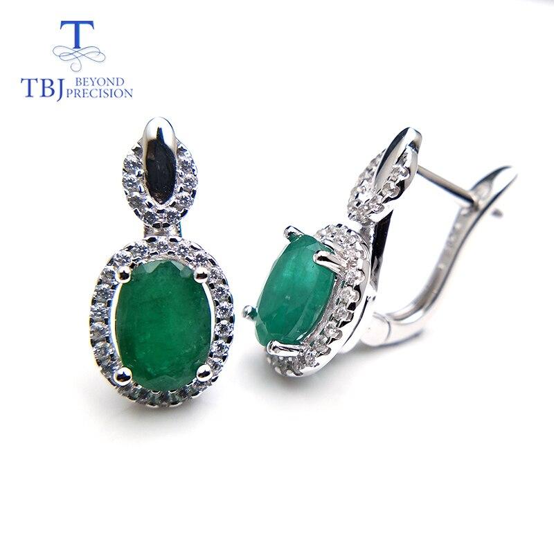 TBJ natural 2 7ct green zambia emerald clasp earring 925 sterling silver gemstone fine jewelry best
