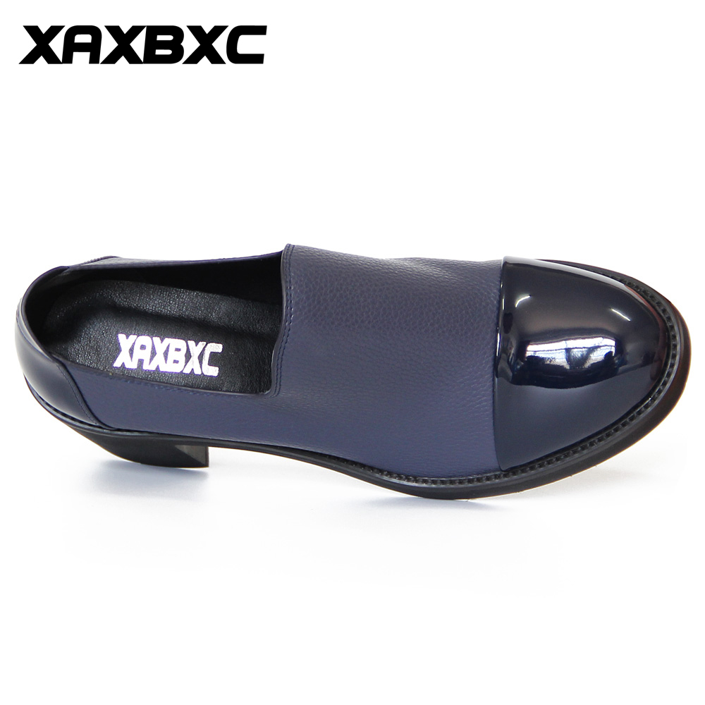 Profonde Style Xaxbxc Britannique En Bleu Lady H057a987 Chaussures Main Oxfords Talons Casual Cuir Talon Femmes Épais Haute Rétro Brogues Peu OO5xrqB