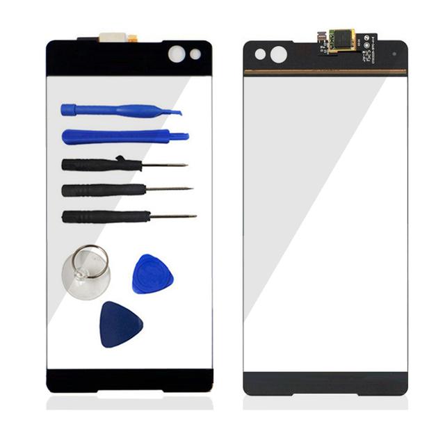 Frente Painel Touch Screen Digitador (não LCD) vidro para sony xperia c5 ultra e5506 e5563 e5533 sensor flex cabo de peças de reparo da lente