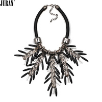 3 Colors Fashion Leaves Choker Necklaces Unique Pendant Chunky Necklace Rope Chain Statement JURAN Jewelry